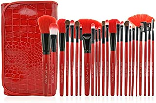 24 pieces Professional Makeup Brush Cosmetic Brushes Kit Set with Folding PU Leather Bag - Red