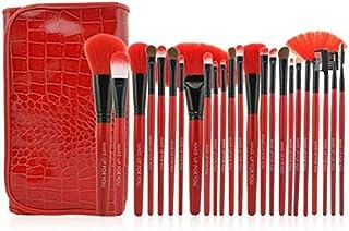 طقم فرش مهني لماكياج 24 قطعة,  مع حقيبة أحمر مطوية  من جلد تقليدي