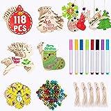Joyjoz adornos de madera de navidad 50 piezas+8 marcadores+60cascabeles, decoraciones de bricolaje para árboles de navidad para el hogar adornos colgantes de navidad manualidades para niños