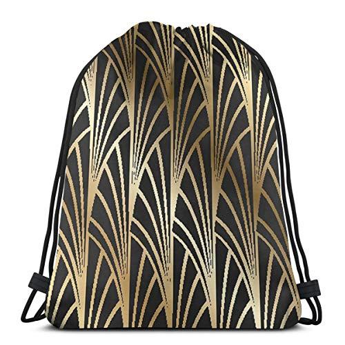 Ameok-Design Jugendstil Art Deco Gold Schwarz Muster Schultertasche Kordelzug Tasche Rucksack...