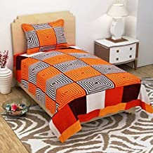 BLUEDOT 144 TC Microfiber Single Bedsheet with 1 Pillow Cover and with Attractive Digital Printed Design in Multicolor for Single Bed| Color not Fade Guarantee |Size: 60x90inch (152x228cm)