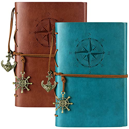 2 Pack Leather Writing Journal Notebook, MALEDEN Classic Spiral Bound...