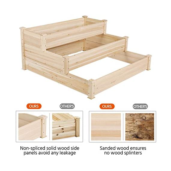 YAHEETECH 3 Tier Raised Garden Bed Wooden Elevated Garden Bed Kit for Vegetables Outdoor Indoor Solid Wood 49 x 49 x 21… 3 Useful & Practical – With this helpful planter, you can cultivate plants like vegetable, flowers, herbs in your patio, yard, garden and greenhouse, and make them more convenient to manage. 3 TIERS DESIGN: This elevated planter provides 3 growing areas for different plants or planting methods. Each tier is connected with wood plugs, which allows this 3-tier garden bed to be easily transformed into 3 single separate growing beds in different sizes if needed. Customizable design – This elevated planter provides 3 growing areas for different plants or planting methods. Each tier is connected with wood plugs, which allows this 3-tier garden bed to be easily transformed into 3 separate growing beds in different sizes if needed.