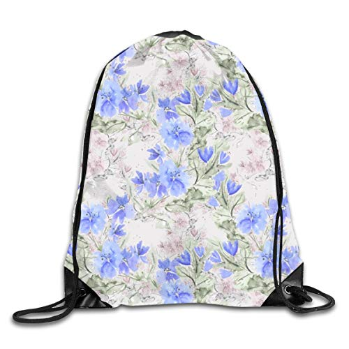 show best Blue Flowers On Dusty Pink Background. Drawstring Gym Bag for Women and Men Polyester Gym Sack String Backpack for Sport Workout, School, Travel, Books 14.17 X 16.9 Inch