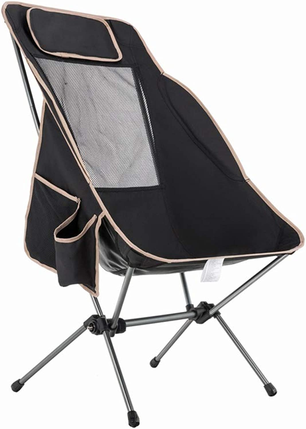 Nevy Portable Camping Chairs with Cup Holder Compact Ultralight Folding Backpacking Fishing Chair,Black