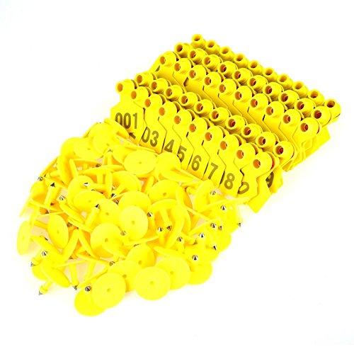 1-100 Targhette per Animali in plastica con Marchio Auricolare per Animali da Allevamento per Ovini di Capra(Giallo)