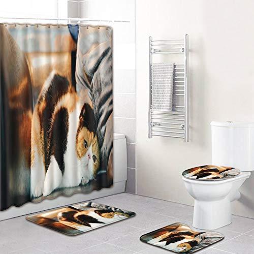 ETH Huisdier Hond Patroon Douche Gordijn Vloer Mat Badkamer Toiletbril Vierdelige Tapijt Waterabsorptie Niet vervagen Veelzijdige Comfortabele Badkamer Mat Kan Machine Wassen duurzaam