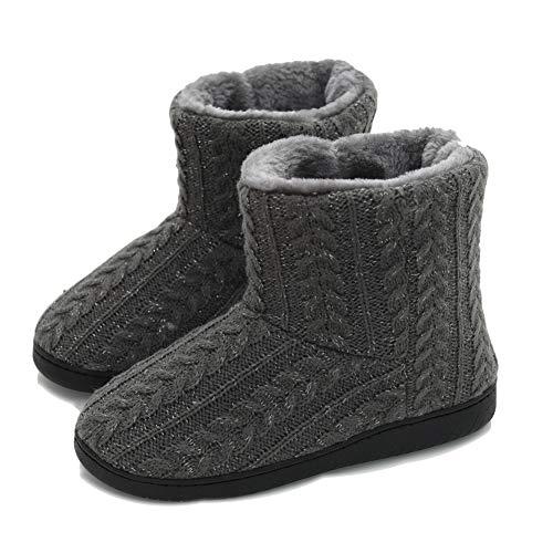 AONEGOLD Hausschuhe Damen Herren Hausstiefel Warm rutschfest Winter Hüttenschuhe Plüsch Pantoffeln Stiefel Outdoor/Indoor(Grau,35-36 EU)