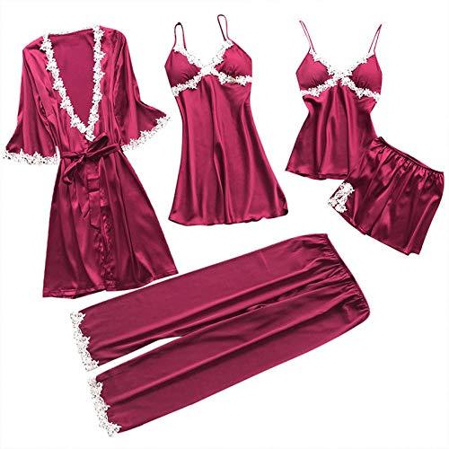 WQDS Ladies Pajamas 5-Piece Set Silk Satin Solid Color Pajamas Set Sexy Pajamas with Padded lace Pajamas Pajamas Home Service-Wine red_XXL_China