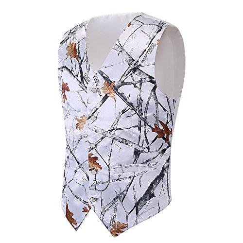 iLovewedding Mens Camouflage Vests for Wedding Groom Camo Prom Vest (Large, White Camo)