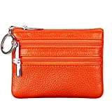 Women's Genuine Leather Coin Purse Mini Pouch Change Wallet with Keychain ,Orange