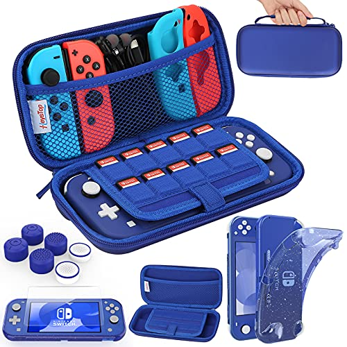 HEYSTOP Compatible with Switch Lite Carrying Case, Switch Lite Case with Soft Glitter TPU Protective Case Games Card 6 Thumb Grip Caps for Nintendo Switch Lite Accessories Kit(Blue)