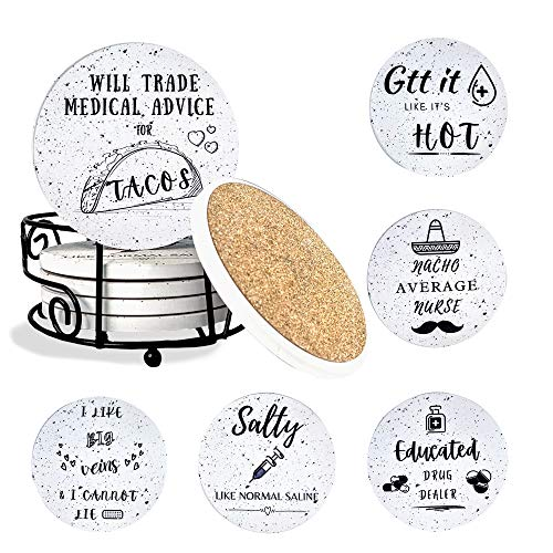 KCT Store Nurse Gifts - Absorbent Ceramic Coasters with Cork Base - Nurse Gifts for Women or Men - Holder Included (Funny)
