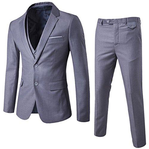 Anzug Herren Slim Fit 3 Teilig Anzüge Herrenanzug Sakko für Hochzeit Business Hellgrau Large