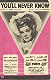 """sheet music cover: You'll Never Know"""" 1943"""