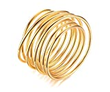 VNOX 18k Gold Plated Intertwined Crossover Statement Ring Engagement Enhancers Stacking Ring for Women Girls,Size 7
