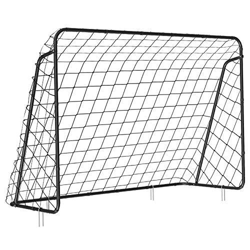 SONGMICS Fußballtor für Kinder, schnelle Montage, Garten, Park, Strand, Eisenrohre und PE-Netz, schwarz SZQ215BK