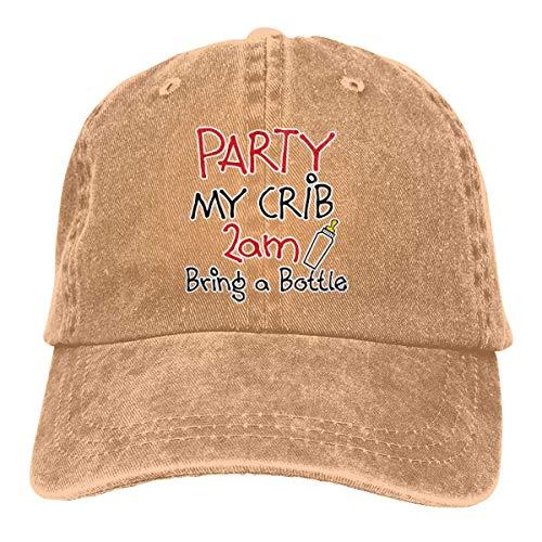 XCNGG Gemütliche Party in Meinem Kinderbett 2 Uhr morgens Bringen Sie Flasche Unisex Cowboyhüte Sport Jeans Hut Mode Baseball Cap Black