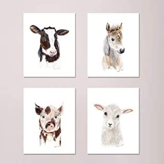 Farm Nursery Print Set of 4 Prints, Baby Animal Portraits - Horse, Lamb, Pig, and Cow - Alternate Animals and Different Sizes Available
