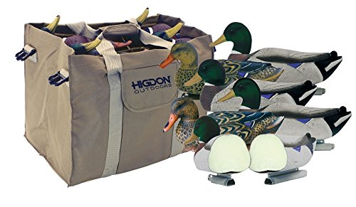 Higdon Magnum Foam Filled Flocked Head Mallard Duck Decoys with Slot Bag