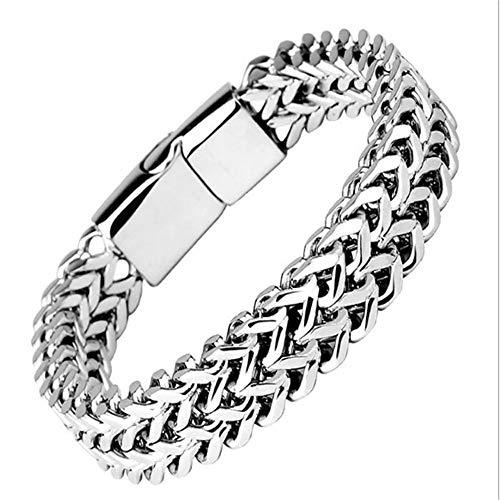 AMTBBK Herren Armband Edelstahl Schwarz Panzerkette Armband Für Männer Jungen Schwer Glieder Link Kettenarmband Armkette Hip Hop Rapper Modeschmuck,19cm