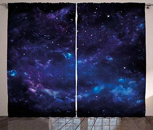 Ambesonne Sky Curtains, Space Night Time Universe Stars and Nebulas Distant Parts of Galaxy, Living Room Bedroom Window Drapes 2 Panel Set, 108' X 96', Purple Charcoal