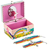 Kids Unicorn Musical Jewellery Box Girls Gift Plus Mum and Daughter Bracelet Set