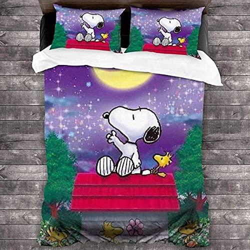 QWAS Juego de ropa de cama de dibujos animados Anime-Snoopy, de fácil cuidado, funda nórdica de lujo, 100% microfibra (A01, 140 x 210 cm + 50 x 75 cm x 2)