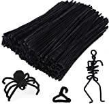 Caydo 200 Pieces Black Pipe Cleaners Craft Chenille Stems for DIY Art Creative Crafts and Halloween Decorations (12 Inch x 6 mm)