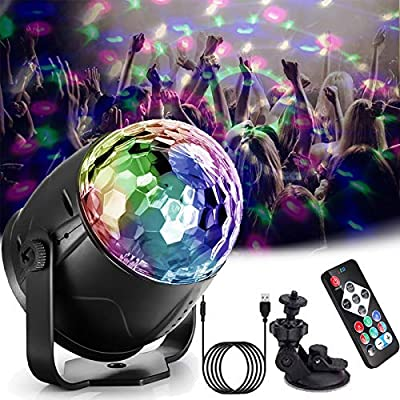 Disco Lights,Cdycam Sound Activated Disco Ball Party Lights with 4M USB Power Cable,Remote Control,Suction Cup Holder for Birthday Party,Family Gathering,Christmas Party,Wedding and Disco