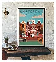 LMHベッドルーム装飾壁装飾ツーリズム世界旅行キャンバスポスターロンドンニューヨークポスタープリント壁アート装飾 (Color : IN018 15, Size (Inch) : 90X130cm Unframed)