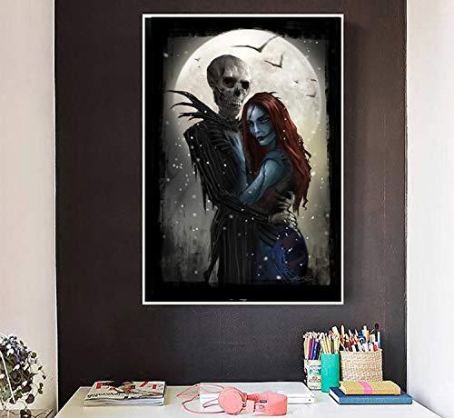 SDFSD Live-Action-Albtraum vor Heiligabend Liebe Schädel Leinwand Drucken Bilder Poster Malen Wandkunst Wohnzimmer Wohnkultur 60 * 90cm
