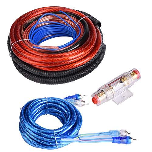 DEWIN Endstufe Auto-Auto Endstufe Anschlusskabel Verstärker 2800W Auto-Audio-Subwoofer Verstärker gehört Installationsdraht-Kabelsatz Sicherungsklage (4 Stück)