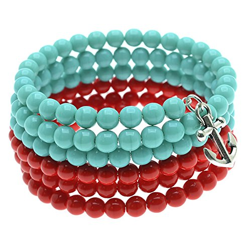 Exclusive Beadaholique Anchor Charm Memory Wire Bracelet -Turq/Red Jewelry...