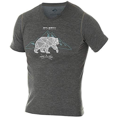 BRUBECK Laufshirt Kurzarm Herren | T-Shirt Laufen I Sportshirt atmungsaktiv für Jungen | Shirt mit Aufdruck | Trainingsshirt Männer | Fitness I 27% Merinowolle | SS12650, Gr. M - Dunkelgrau