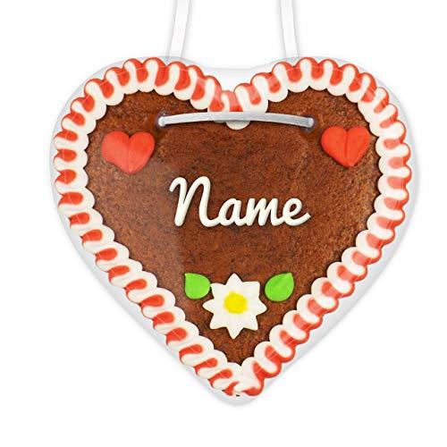 Individuelle Tischkarte aus Lebkuchen | Farbe: rot-weiß | schnell & einfach online beschrifteten Lebkuchenherzen mit Namen konfigurieren | personalisierte Platzkarte | LEBKUCHEN-WELT