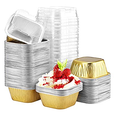 """Cupcake Cups with Lids, Eusoar 3.4oz 100pcs Disposable Desserts Flan, 2.5x2.0x1.3"""" Baking Cups with Lids, Aluminum Foil Desserts Cupcake Flan, Custard Cake Cups, Catering Gathering Shower Favor-Gold"""