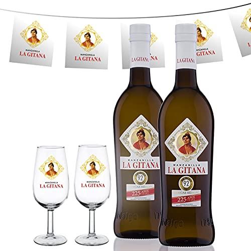 Manzanilla La Gitana - Pack de Feria - 2 Botellas 75 Cl. + 2 Catavinos + Banderines