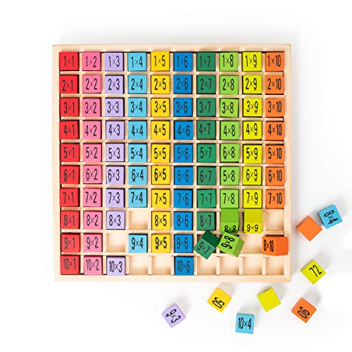 100 Building Blocks Wooden Multiplication & Math Table Board Game, Kids Montessori Preschool Learning Toys Gift for Boys and Girls