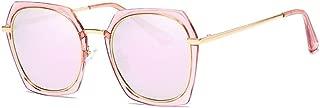 SGJFZD Womens Polarized Light Sunglasses Metal Sunscreen UV400 Full Frame Fashion TAC (Color : Powder)
