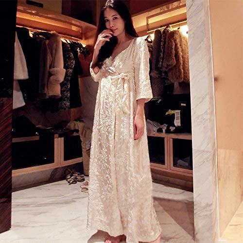 YPDM gewaad, Robe Vrouwen Lange Nachtjapon Borduren Badjas Voor Dames Prinses Thuis Kleding Vrouwelijke Slaapmode Lounges Huiskleding