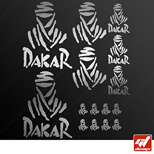 Brett 15Sticker Aufkleber Dakar–Silber–Sticker, selbstklebend, Motorrad, Bike, Kit, Deco, Tuning, Decal, gt-design, GT Design, gtdesign