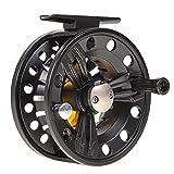 Eaarliyam Mosca Carrete de aleación de Aluminio Impermeable de la Pesca de Bobina Completa Accesorio Intercambiable para la Pesca con Mosca Carrete Rueda Negro