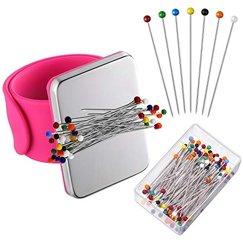 Magnetic Wrist Sewing Pincushion with 100 Pieces Sewing Pins Set Pin Cushion Holder Wristband Wrist Magnetic Pin Holder 1.5 Inch Ball Head Straight Pins for Hand Sewing Supplies (Rose Red)