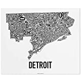 Detroit Neighborhoods Map Art Poster, Black & White, 24' x 20'