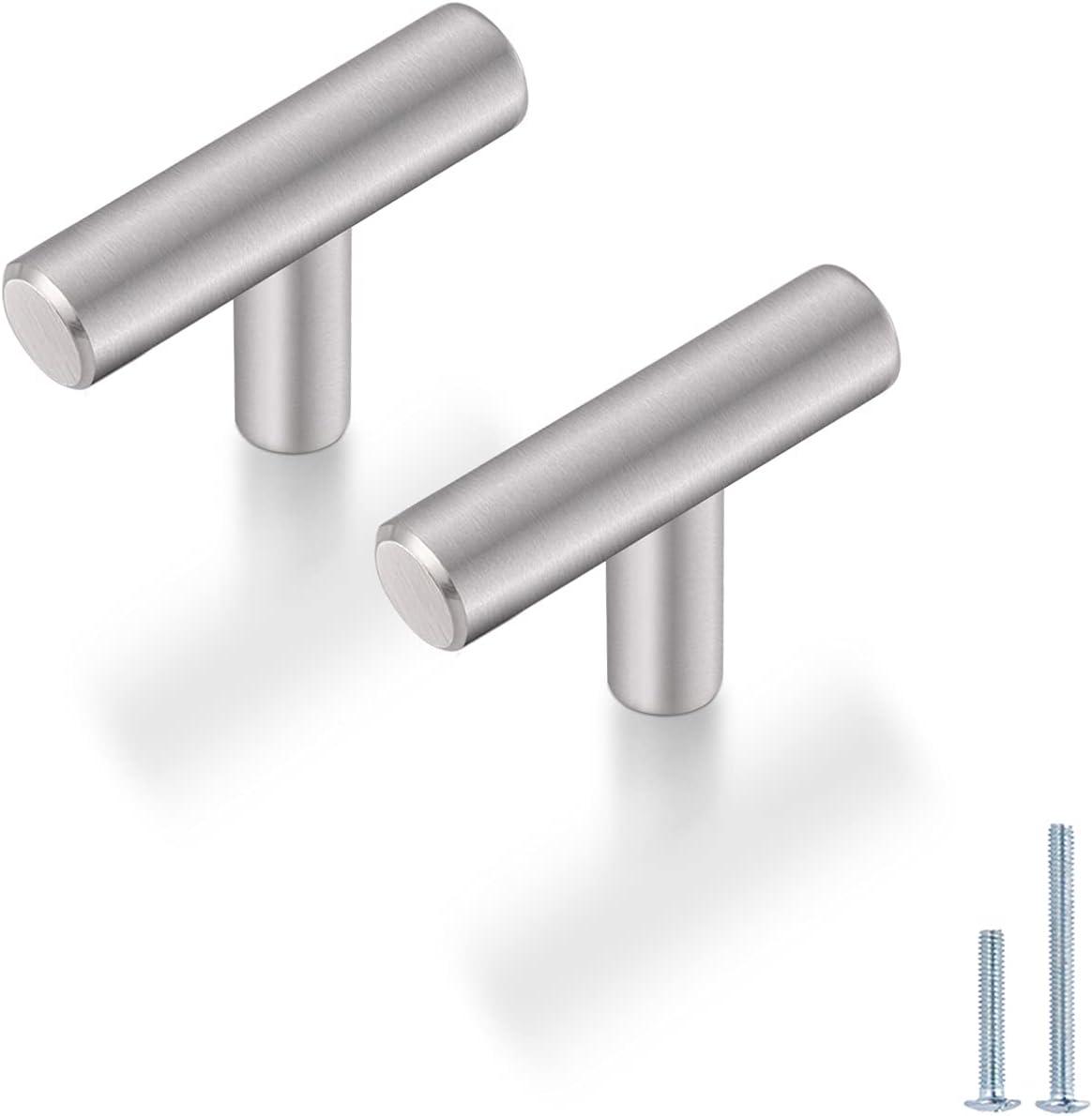 Buy Probrico 10 Pack 2 Inch Stainless Steel Kitchen Cabinet Door Knobs Satin Nickel Euro Style Round T Bar Hardware Single Hole Drawer Dresser Knobs For Cupboard Bathroom Bedroom Online In Turkey B0868gtr7w