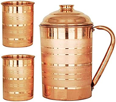 INDIAN CRAFTIO Copper Jug With Two Glass - 1 Piece, Brown, 1800 ml
