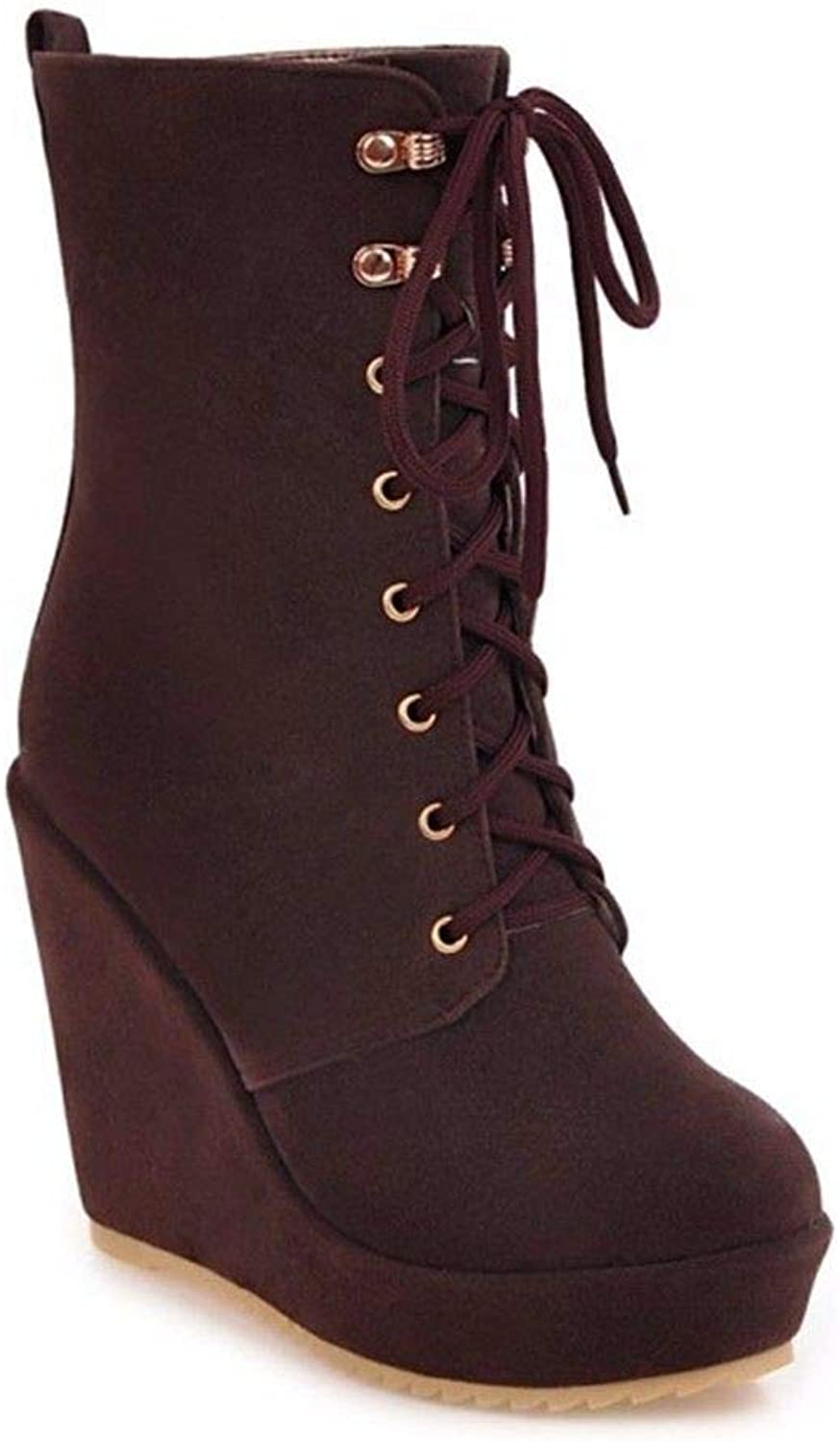 Ms. Winter high Heeled Boots with Frosted Slope Front Tie Size Boots