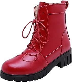 RizaBina Women Fashion Martin Boots Block Heels High Top