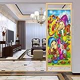 PikaQ - Películas estáticas para ventana, sin pegamento, diseño de dibujos animados para niños, diseño de elfos con setas, adhesivo estático para ventana para hogar y oficina, 17,7 x 35,4 pulgadas